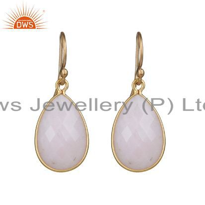 14K Yellow Gold Plated Sterling Silver Pink Opal Bezel Set Teardrop Earrings