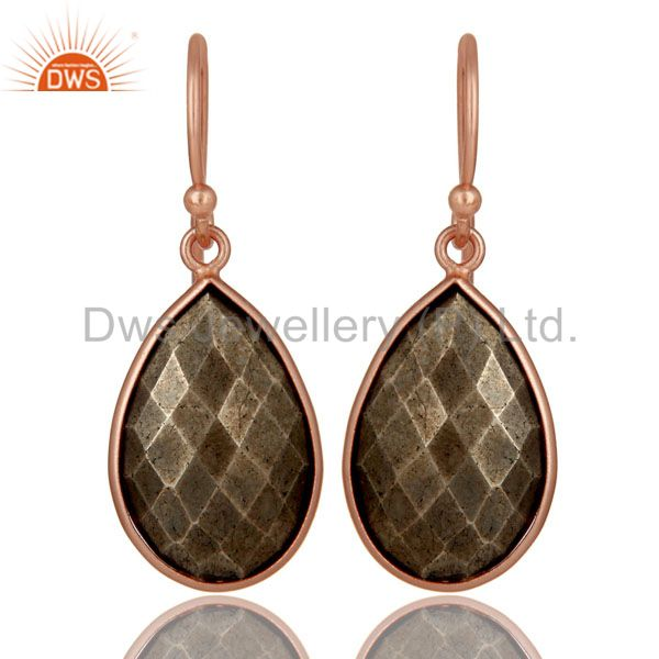 18K Rose Gold Plated Sterling Silver Golden Pyrite Bezel Set Teardrop Earrings