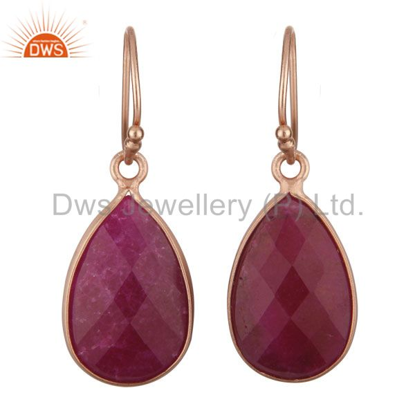 18K Rose Gold Plated Silver Dyed Ruby Gemstone Bezel Set Teardrop Earrings