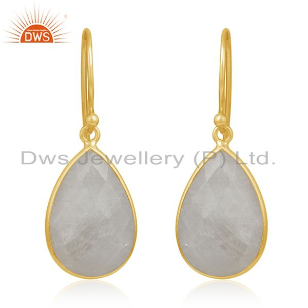 Gold Plated 925 Silver Rainbow Moonstone Drop Earring Manufacturer From Jaipur