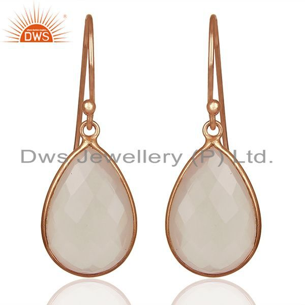 18K Rose Gold Plated Sterling Silver Faceted Rose Quartz Gemstone Drop Earrings