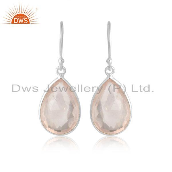 Handmade classic design rose quartz dangle in sterling silver 925
