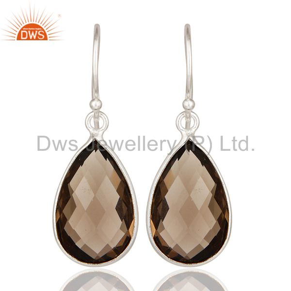 925 Sterling Silver Natural Smoky Quartz Gemstone Bezel-Set Drop Earrings