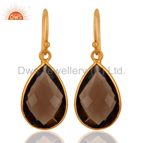 Smoky Quartz Faceted Gemstone Sterling Silver Dangle Earrings With Gold Plated