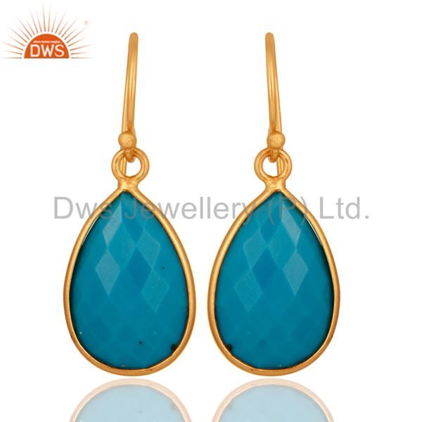 18K Yellow Gold Plated Sterling Silver Faceted Turquoise Bezel Teardrop Earrings