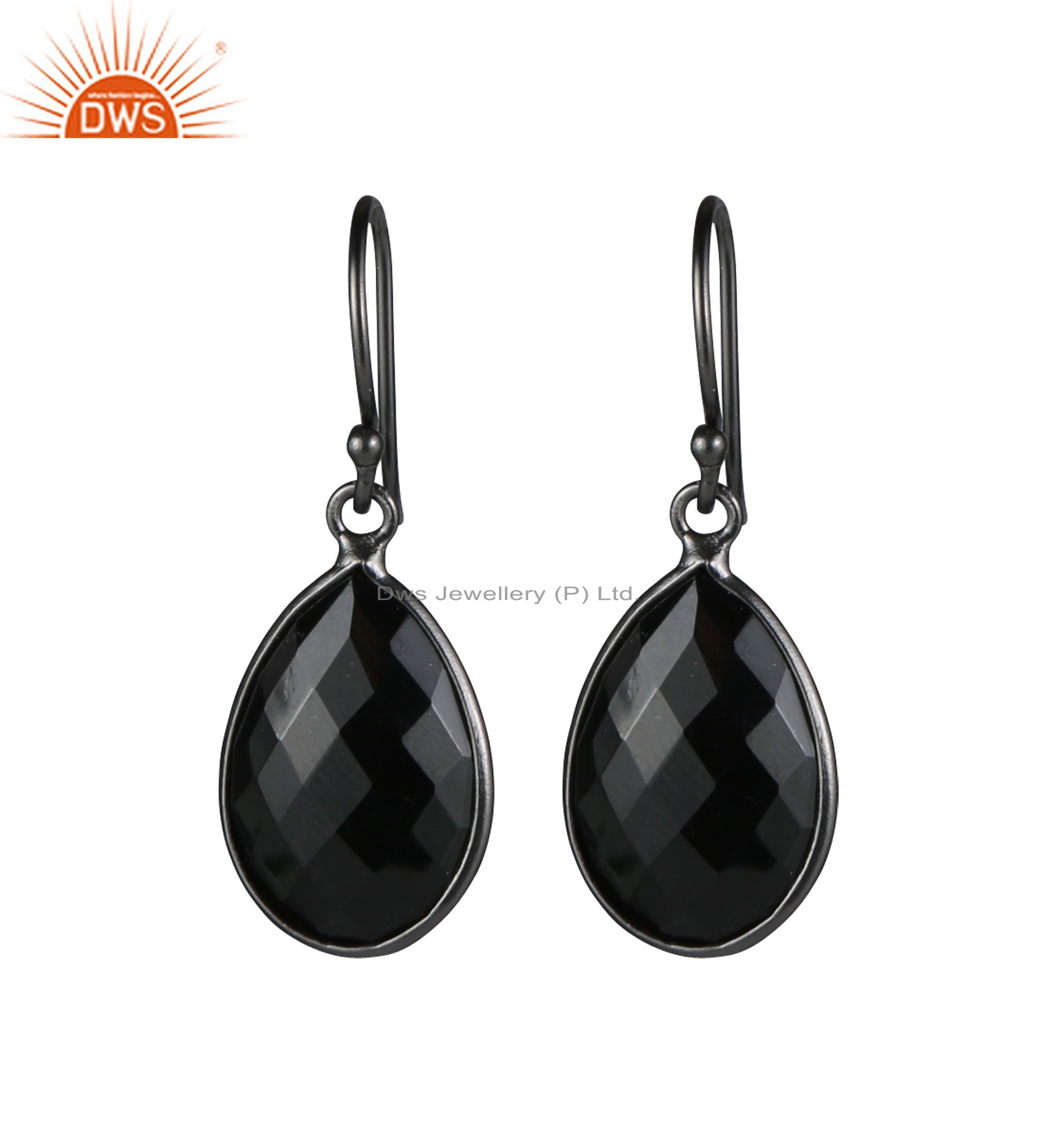 Oxidized Solid Sterling Silver Faceted Black Onyx Bezel Set Teardrop Earrings