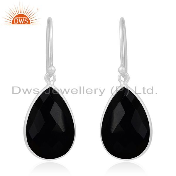 925 Sterling Silver Faceted Black Onyx Gemstone Bezel Set Dangle Earrings