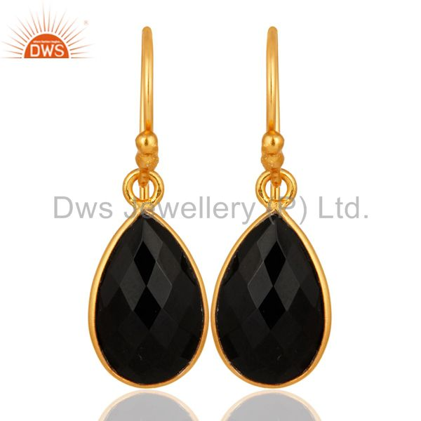 925 Sterling Silver Faceted Black Onyx Gemstone Pear-Shape Drop Earrings