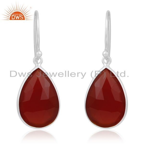 Red Onyx Gemstone Sterling Fine Silver Earring Manufacturer of Custom Jewelry