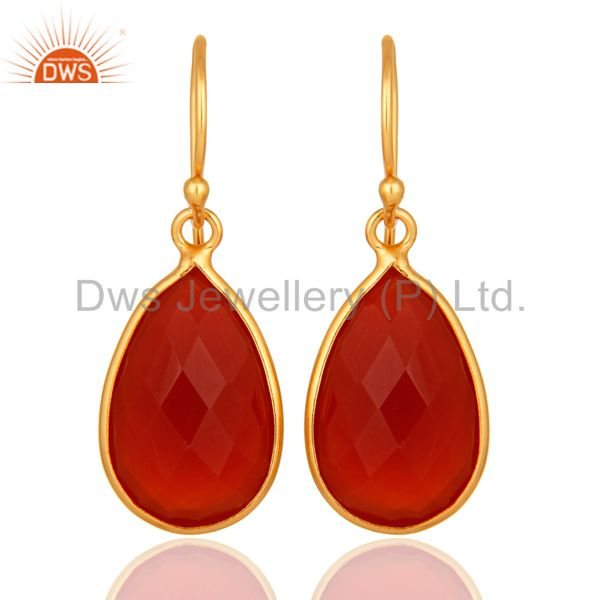 Natural Red Onyx Gold Plated Sterling Silver Bezel-Set Gemstone Drop Earrings