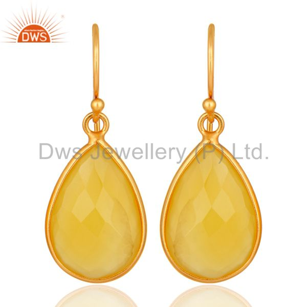 Gold Plated Sterling Silver Yellow Chalcedony Framed Gemstone Drop Earrings
