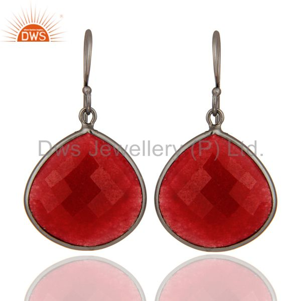 Handmade Dyed Ruby Faceted Gemstone Bezel Set Drop Earring With Rhodium Plated