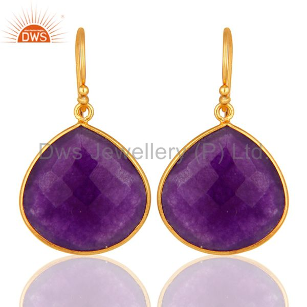 Bezel-Set Purple Chalcedony Drop Earrings Made In 18K Gold Over Sterling Silver
