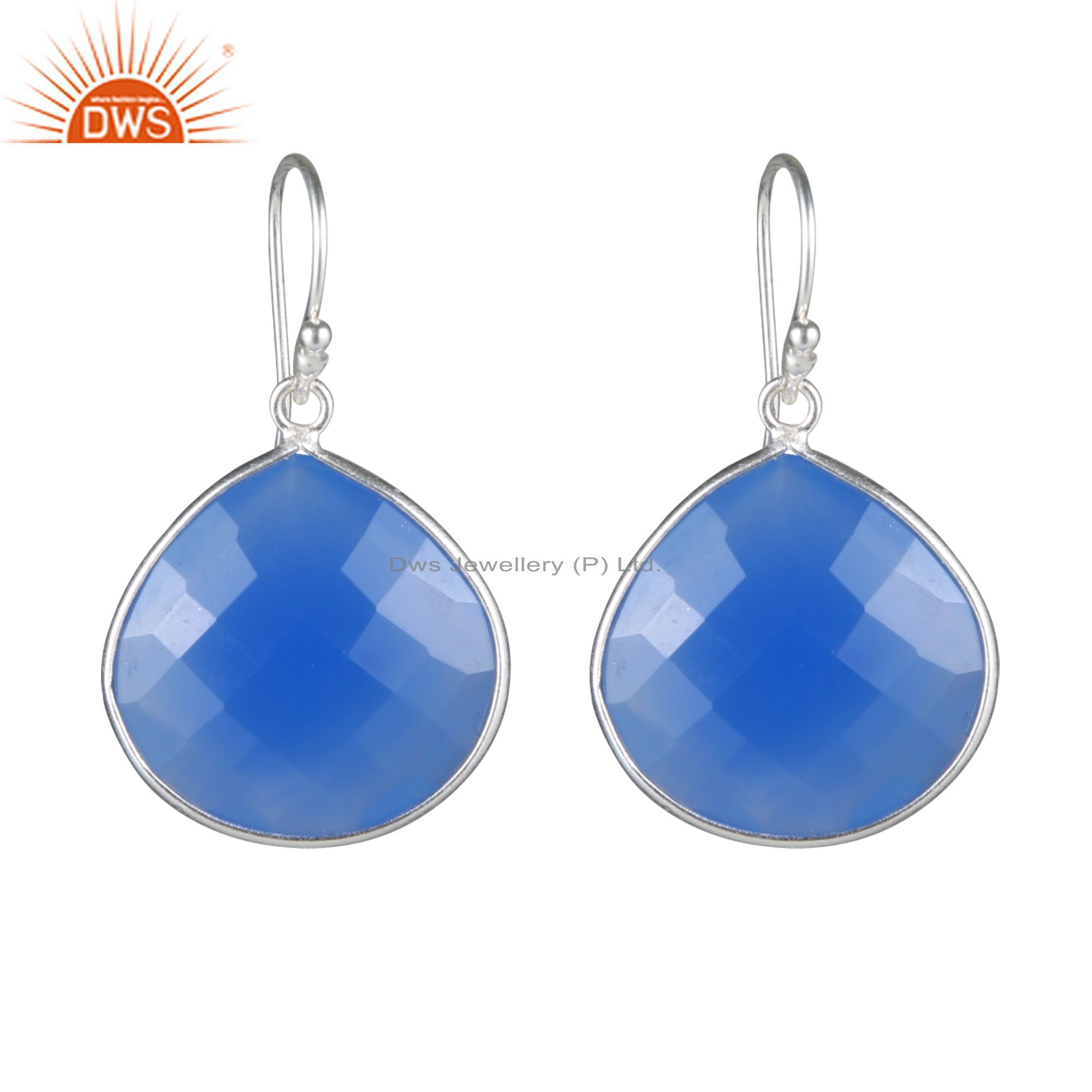 925 Sterling Silver Blue Chalcedony Faceted Gemstone Bezel Set Drop Earrings