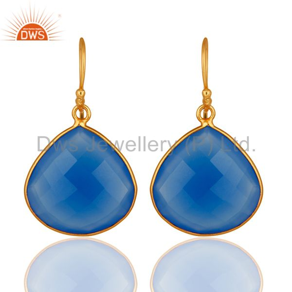 18K Gold Plated Sterling Silver Blue Chalcedony Faceted Gemstone Earrings
