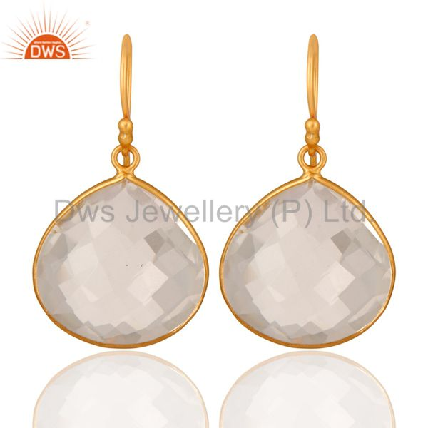 18K Yellow Gold Plated Sterling Silver Crystal Quartz Bezel Set Earrings