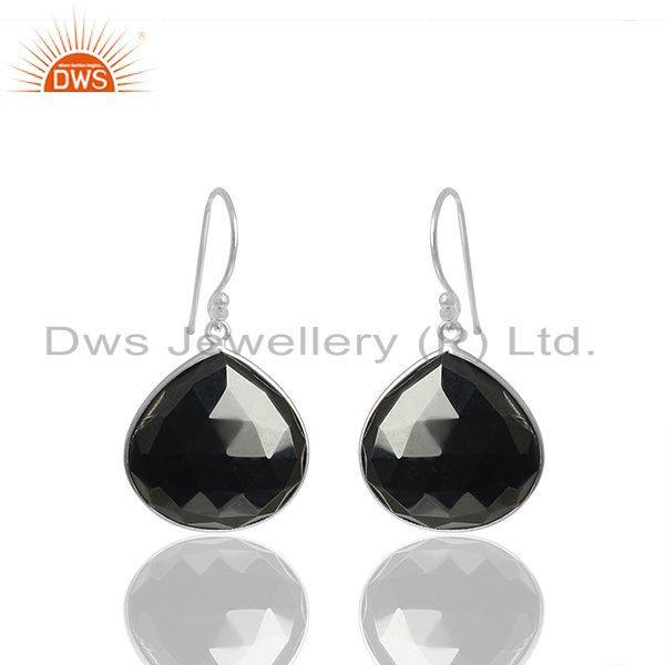 Solid 92.5 Silver Handmade Hematite Gemstone Girls Earrings Wholesale