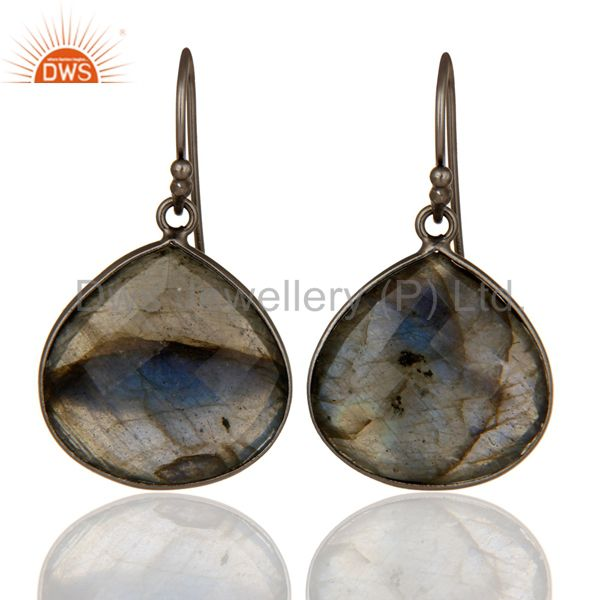 Black Rhodium Plated Sterling Silver Labradorite Gemstone Drop Earrings