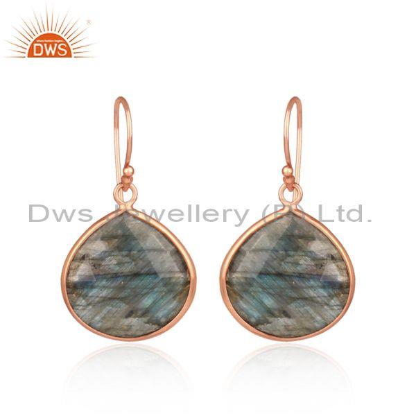 Labradorite set rose gold on silver casual ear wire earrings