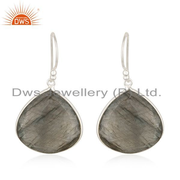 925 Sterling Silver Labradorite Gemstone Dangle Hook Earrings