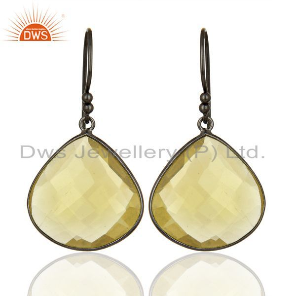 Oxidized Sterling Silver Natural Lemon Topaz Gemstone Bezel Set Drop Earrings