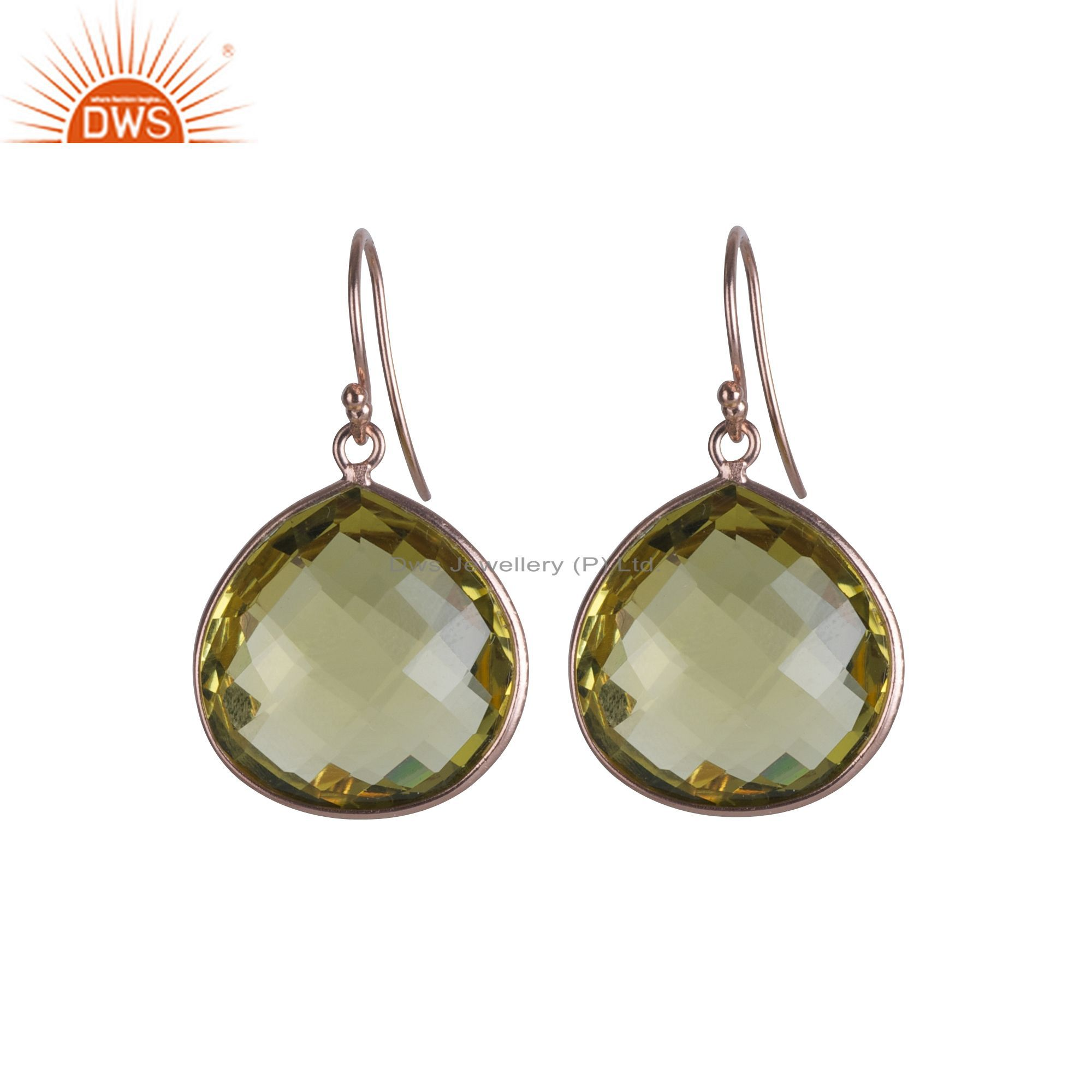 Handmade 925 Solid Sterling Silver Lemon Topaz Bezel Set Drop Earrings