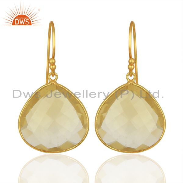 Yellow Gold Plated Lemon Topaz Gemstone Earrings Wholesale Jewelry