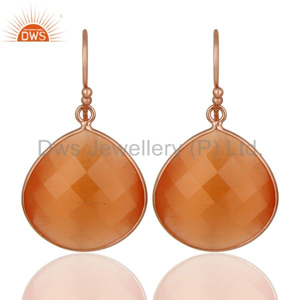 14K Rose Gold Plated Sterling Silver Peach Moonstone Bezel Set Drop Earrings