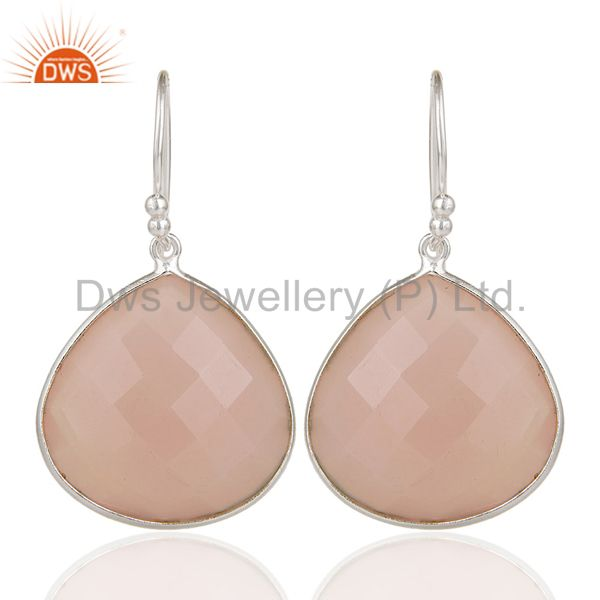 Mind Blowing Solid Sterling Silver Rose Chalcedony Bezel Set Drop Earrings