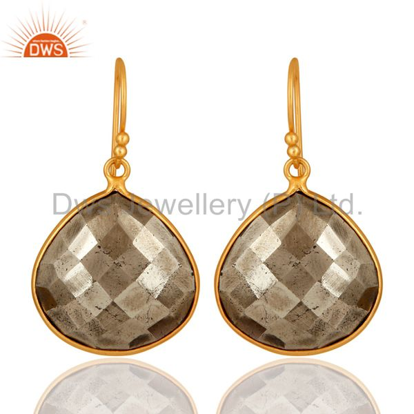14K Yellow Gold Plated Sterling Silver Faceted Pyrite Bezel Set Drop Earrings