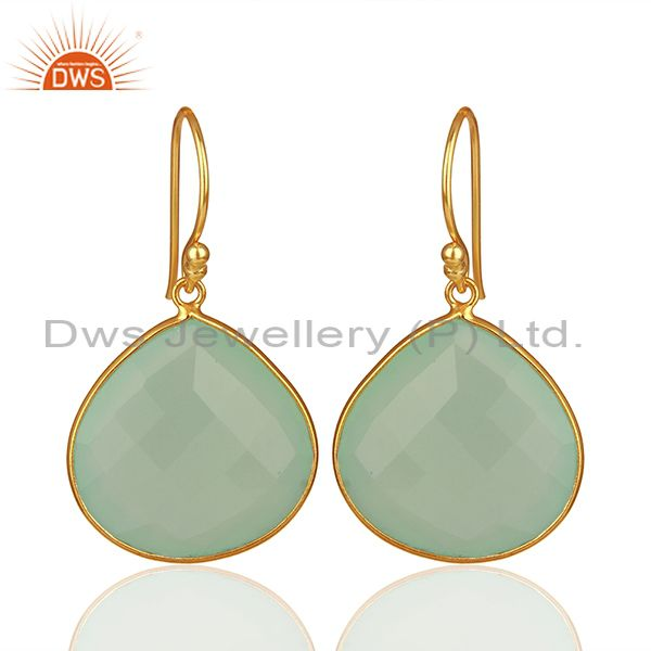 Dyed Aqua Blue Chalcedony Gemstone 18K Gold Over Sterling Silver Dangle Earrings