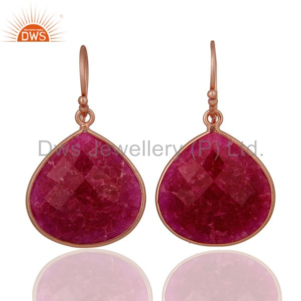18K Rose Gold Plated Sterling Silver Faceted Ruby Bezel Set Dangle Earrings