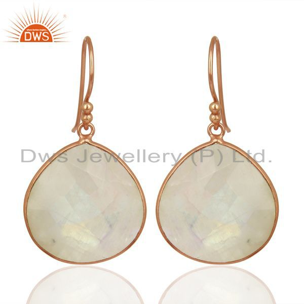 Faceted Rainbow Moon Stone Heart Shape Sterling Silver Rose Gold Plated Earring