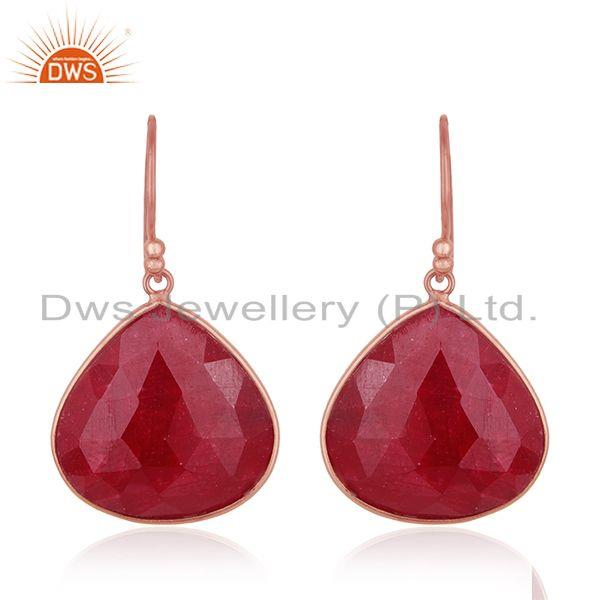 Rose Gold Plated 925 Silver Ruby Corundum Gemstone Drop Earrings Manufacturer