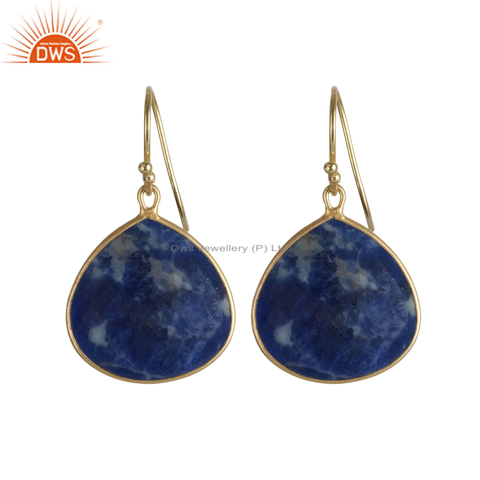 18K Yellow Gold Plated Sterling Silver Sodalite Gemstone Bezel Set Drop Earrings