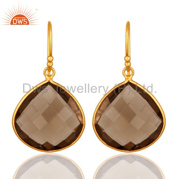 Faceted Smoky Quartz 18K Gold Plated Sterling Silver Bezel-Set Hook Earrings