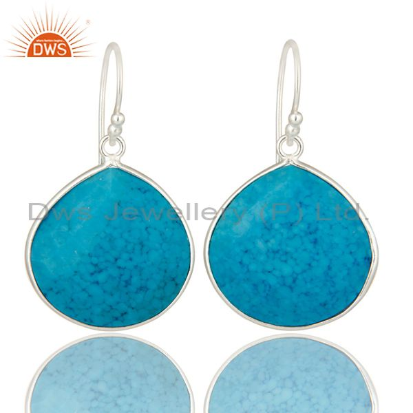 Solid 925 Sterling Silver Turquoise Gemstone Bezel Set Drop Dangle Earrings