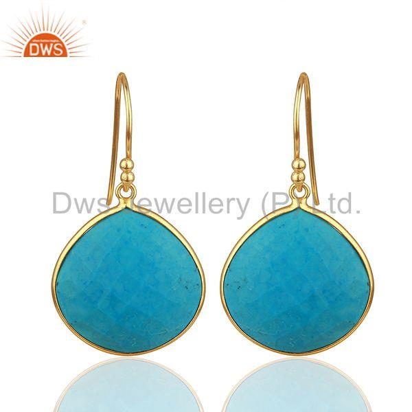 Handmade 925 Silver Gold Plated Turquoise Gemstone Drop Earrings