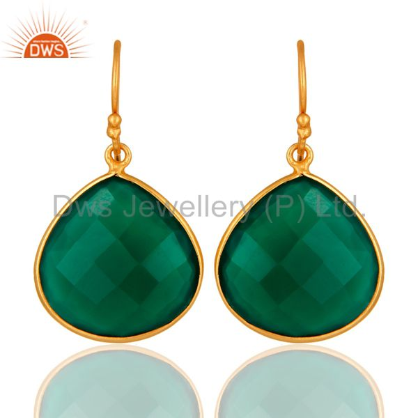 Faceted Green Onyx Gemstone 24K Gold Plated Sterling Silver Drop Earrings