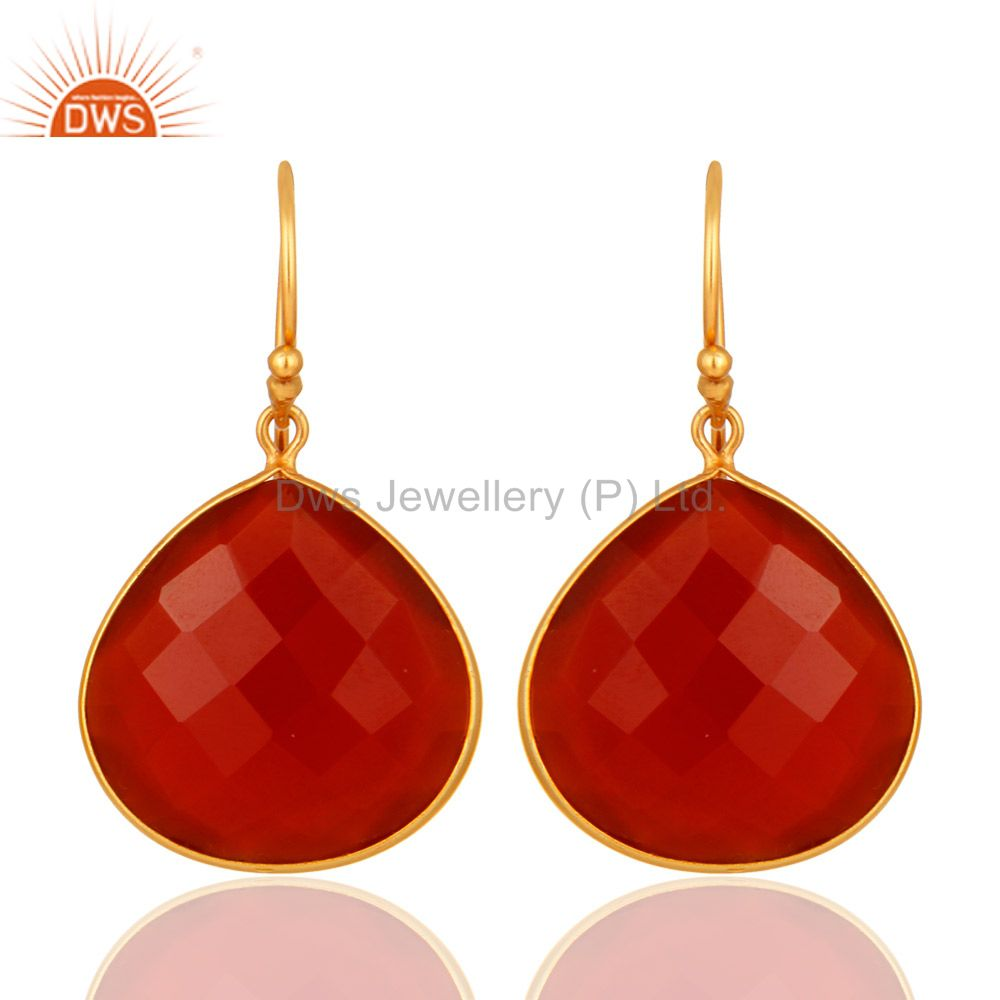 18k Gold over Sterling Silver Red Onyx Gemstone Faceted Drop Earrings