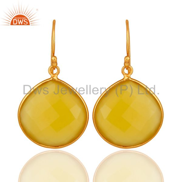 Faceted Yellow Moonstone 24K Gold Plated Sterling Silver Drop Earrings