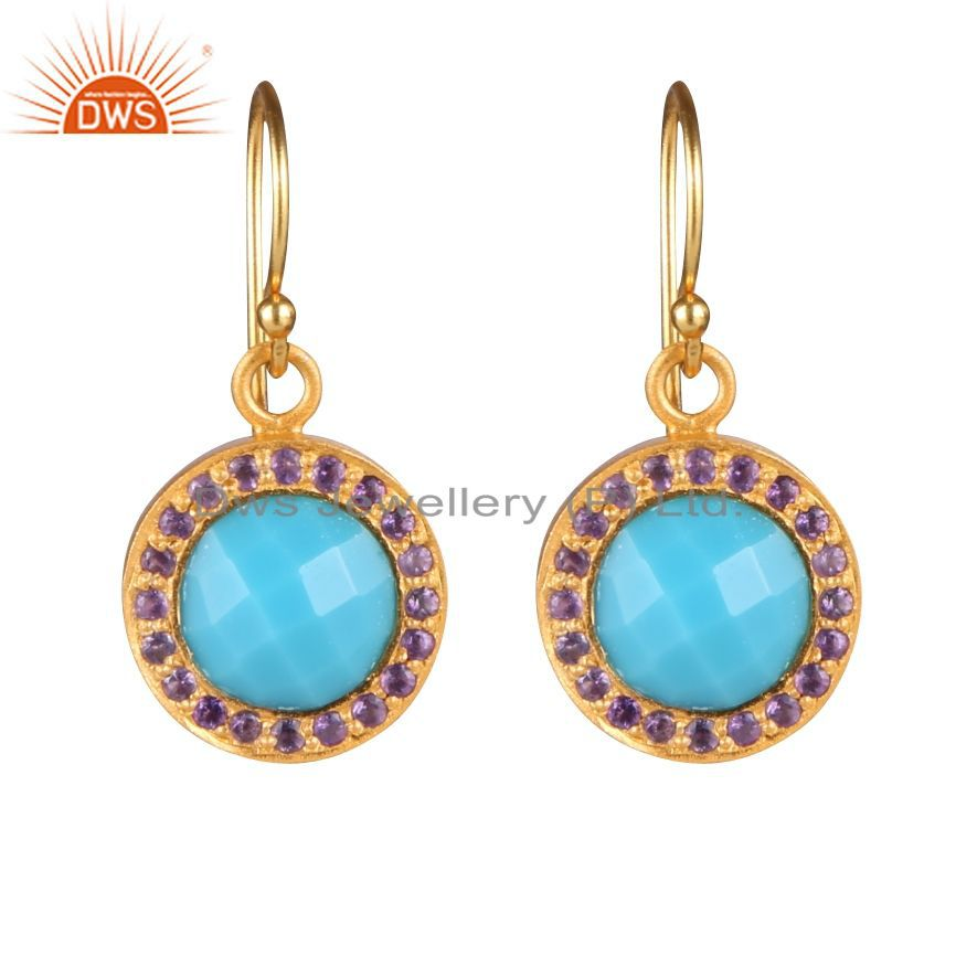 18K Yellow Gold Plated Sterling Silver Turquoise And Amethyst Halo Earrings