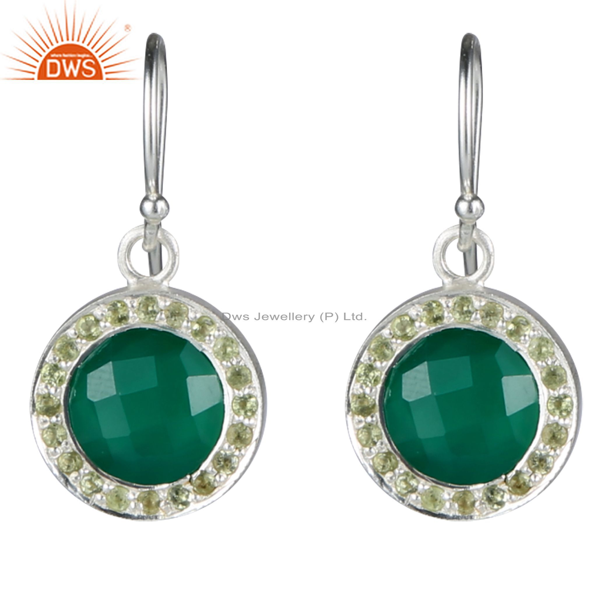 Handmade Sterling Silver Green Onyx And Peridot Halo Style Dangle Earrings