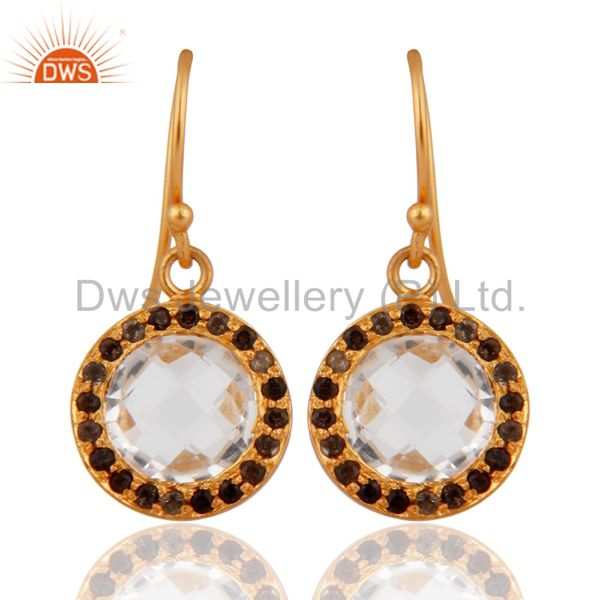 18K Gold Plated Sterling Silver Crystal Quartz And Smoky Quartz Dangle Earrings