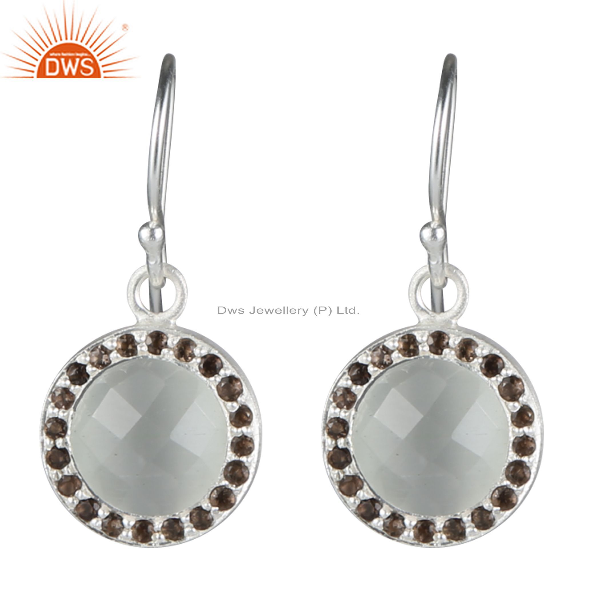 925 Sterling Silver White Moonstone And Smoky Quartz Halo Style Dangle Earrings