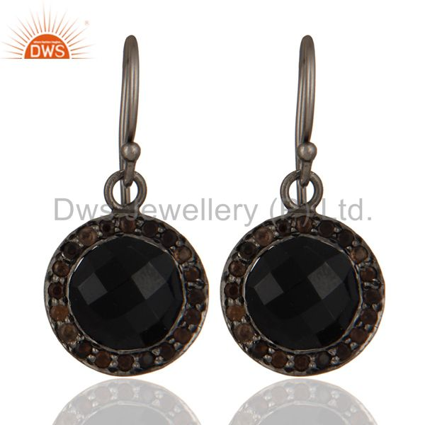 Oxidized Sterling Silver Black Onyx And Smoky Quartz Gemstone Halo Drop Earrings