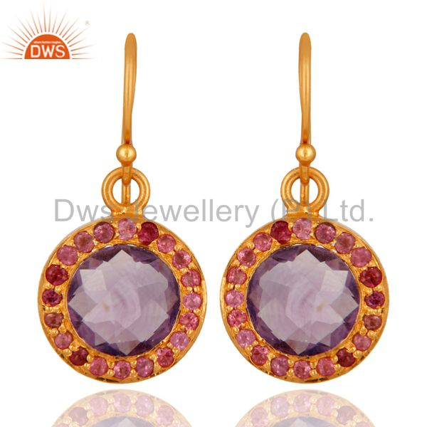 925 Sterling Silver Amethyst Gemstone Dangle Earring With 18K Gold Plated