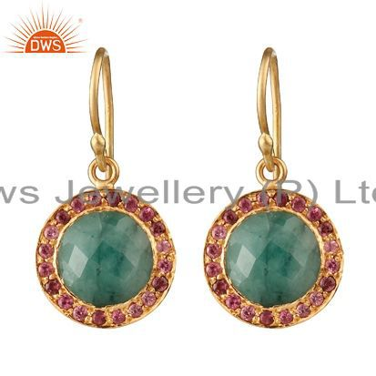 18K Gold Plated Silver Emerald And Pink Tourmaline Halo Style Drop Earrings