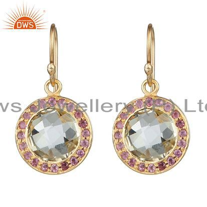 18K Gold Over Silver Lemon Topaz And Pink Tourmaline Halo Style Drop Earrings
