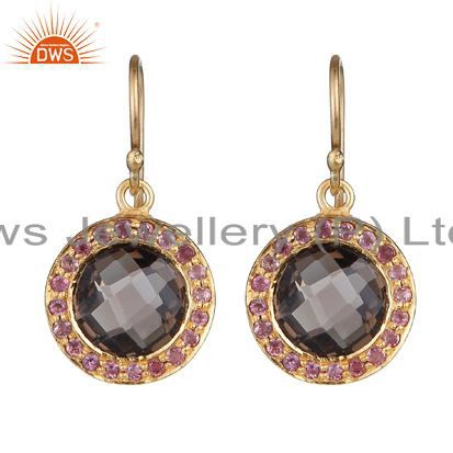 18K Gold Over Silver Smoky Quartz And Pink Tourmaline Halo Style Drop Earrings